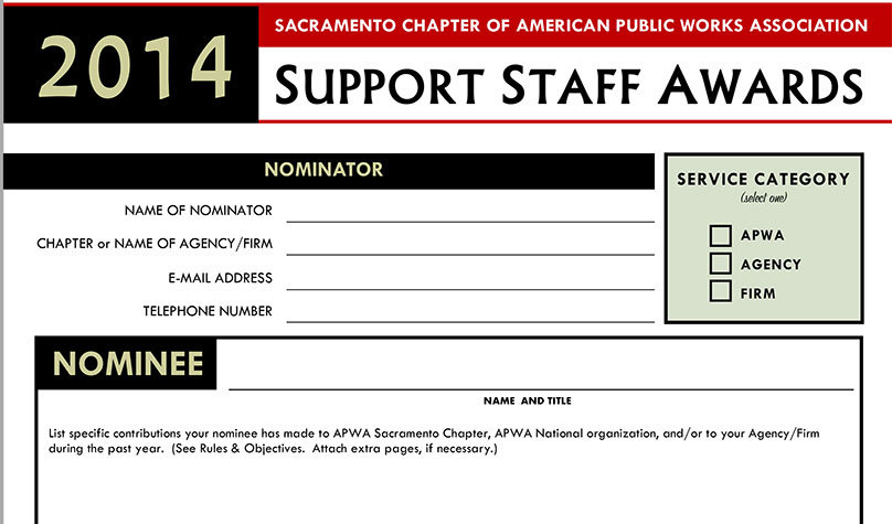 Click for information on nominating a colleague or co-worker for a 2014 APWA Support Staff Award
