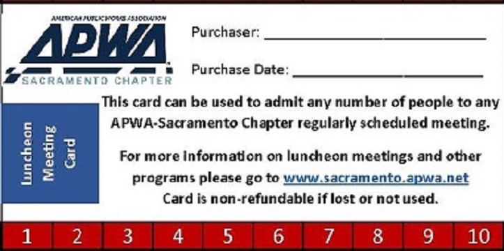 Lunch Card - Members Only - 10 for the Price of 9